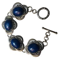 Vintage Sterling And Genuine Lapis Lazuli Bracelet