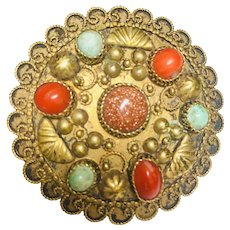 Vintage Victorian  Genuine Coral and Turquoise pin Brooch