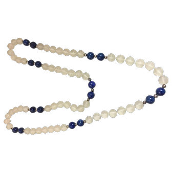 Vintage Frosted Glass And Genuine Lapis Lapiz Beads Necklace