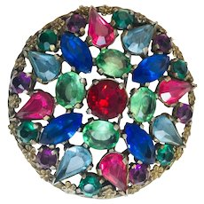 Vintage colored paste Rhinestones Round Circular Brooch Pin