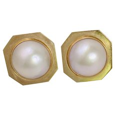Vintage 14Kt Mabe pearl earrings
