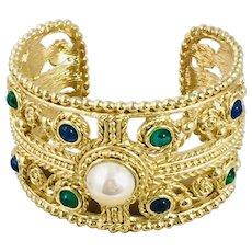 Vintage Grosse Gold Tone cuff Bangle Bracelet