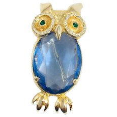 Vintage unsigned owl brooch pin brooch blue jelly belly