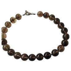 Vintage Smoky Quartz big Beads Necklace