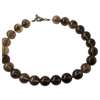 Vintage Smoky Quartz big Beads Necklace