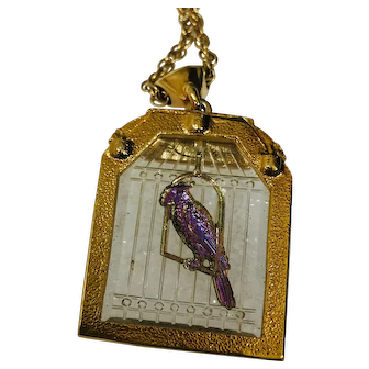 Vintage Reverse Carved Glass Bird Cage Pendant