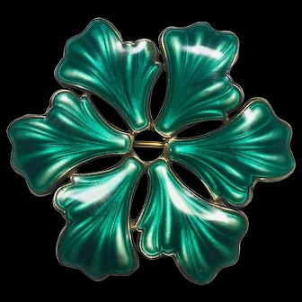 Vintage Sterling Askel Holmsen green enamel brooch pin snowflake