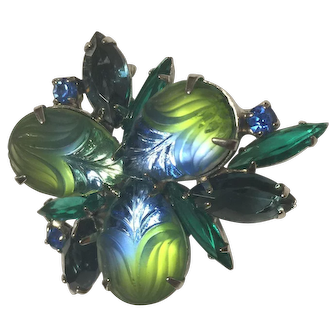 Vintage Unsigned Frosted Givre Glass Rhinestones Brooch Pin