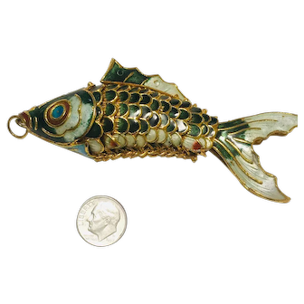 Vintage  Chinese Export  Enamel articulate Fish Pendant