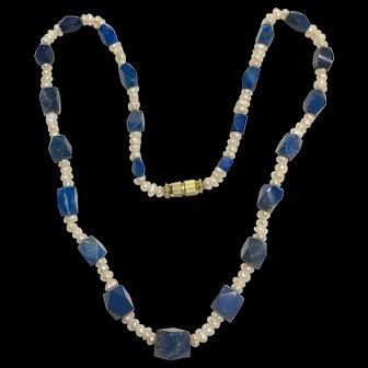 Vintage Genuine Lapiz Lapis And Freshwater Pearls Necklace