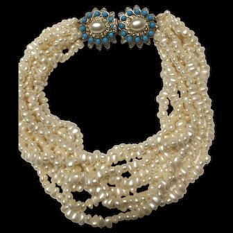 Vintage Kjl multi strand faux pearls turquoise Necklace