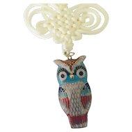 Vintage Chinese Cloisonné Owl pendant