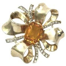 Crown Trifari Sterling Rhinestones Fur Clip Pin