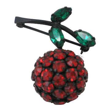 Vintage Warner Cherry Rhinestones Brooch pin