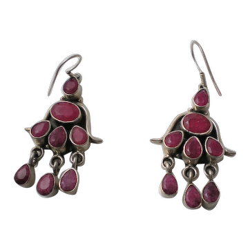 Genuine Ruby Sterling Silver Drop Earrings