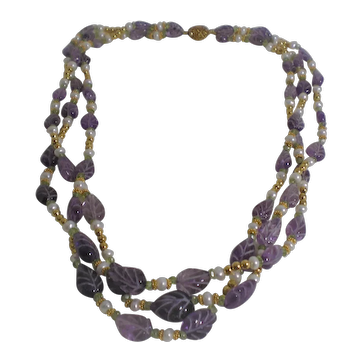 Vintage Chinese Silver Carved Amethyst Freshwater Pearls Necklace