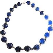 Vintage Art Deco Blue Pools Of Light Beads Sterling Necklace