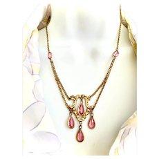 Victorian Pink Paste Gold Filled Festoon Necklace