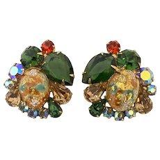 Vintage Juliana Easter Egg Rhinestones Earrings