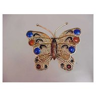 Vintage Chinese Silver Enamel Butterfly Brooch Pin