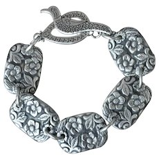 Fine Silver Forget-Me-Not Concho Bracelet