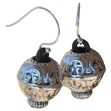 Silver Plated Acrylic Bali-Style  Earrings