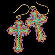 Fancy Chimayo Hand-Painted Cross Earrings