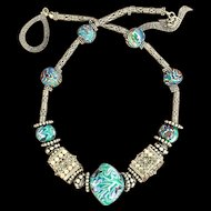 Bali Sterling Silver, Handmade Clay Polymer, Bead Necklace