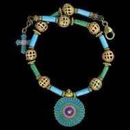 Chimayo, Hand-Patinaed, Brass and Ceramic Bead Necklace