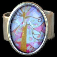 Silver Plated, Pewter, Colorful, Tree Design Ring