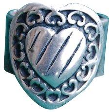 Handmade .999 Fine Silver Heart Design, Pinky Ring