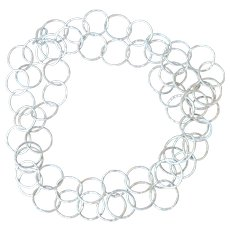 """80"""" long .999 Fine Silver Hammered Hoop Chain Necklace"""