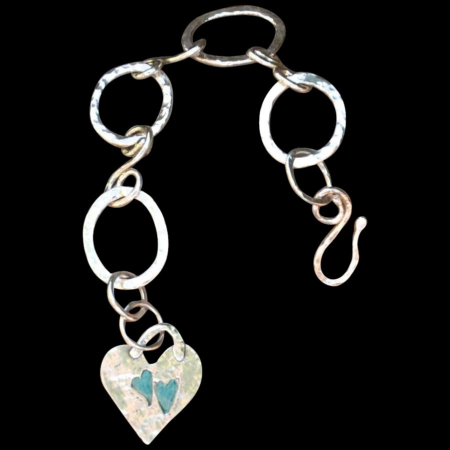 Fine silver 999 custom artisan made hand patinaed heart for Fine silver 999 jewelry