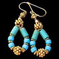 24K Gold Vermeil, Rare, Untreated Sleeping Beauty Turquoise Earrings