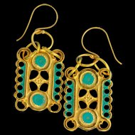 Athena 24K Gold Fired Over Copper Earrings