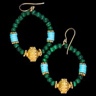 24K Gold Vermeil, Rare, Untreated Sleeping Beauty Turquoise and Malachite Hoop Earrings