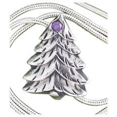 Fine Silver Tree with Cubic Zirconia Necklace