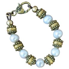 Classic, Gold Tone, Cultured Freshwater Pearl Bracelet