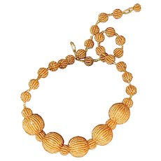 Beautiful Gold Color Beaded Chunky Necklace