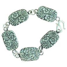 Fine Silver Forget-Me-Not Concho Bracelet