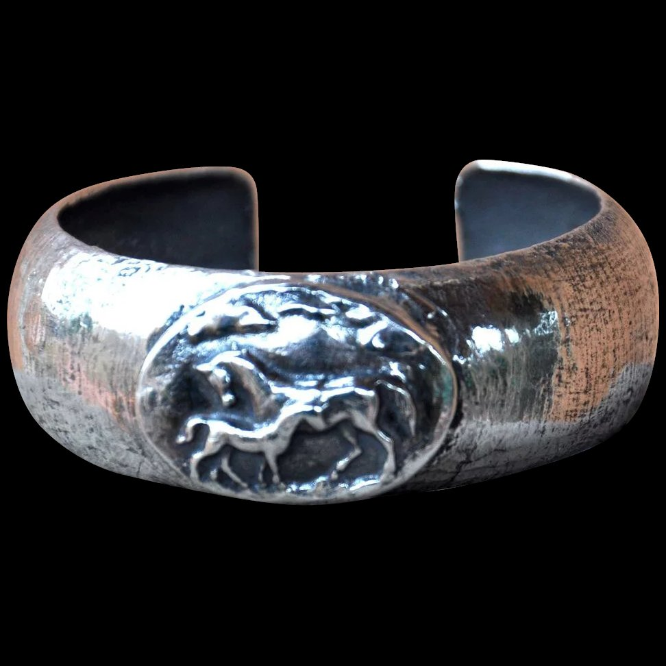 Silver Cuff With Fine Silver Horses B Bold Jewelry For