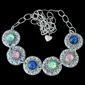 Fine Silver & Hand-Fused Dichroic Glass Necklace
