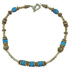 24K Gold Vermeil & Bisbee Turquoise Necklace