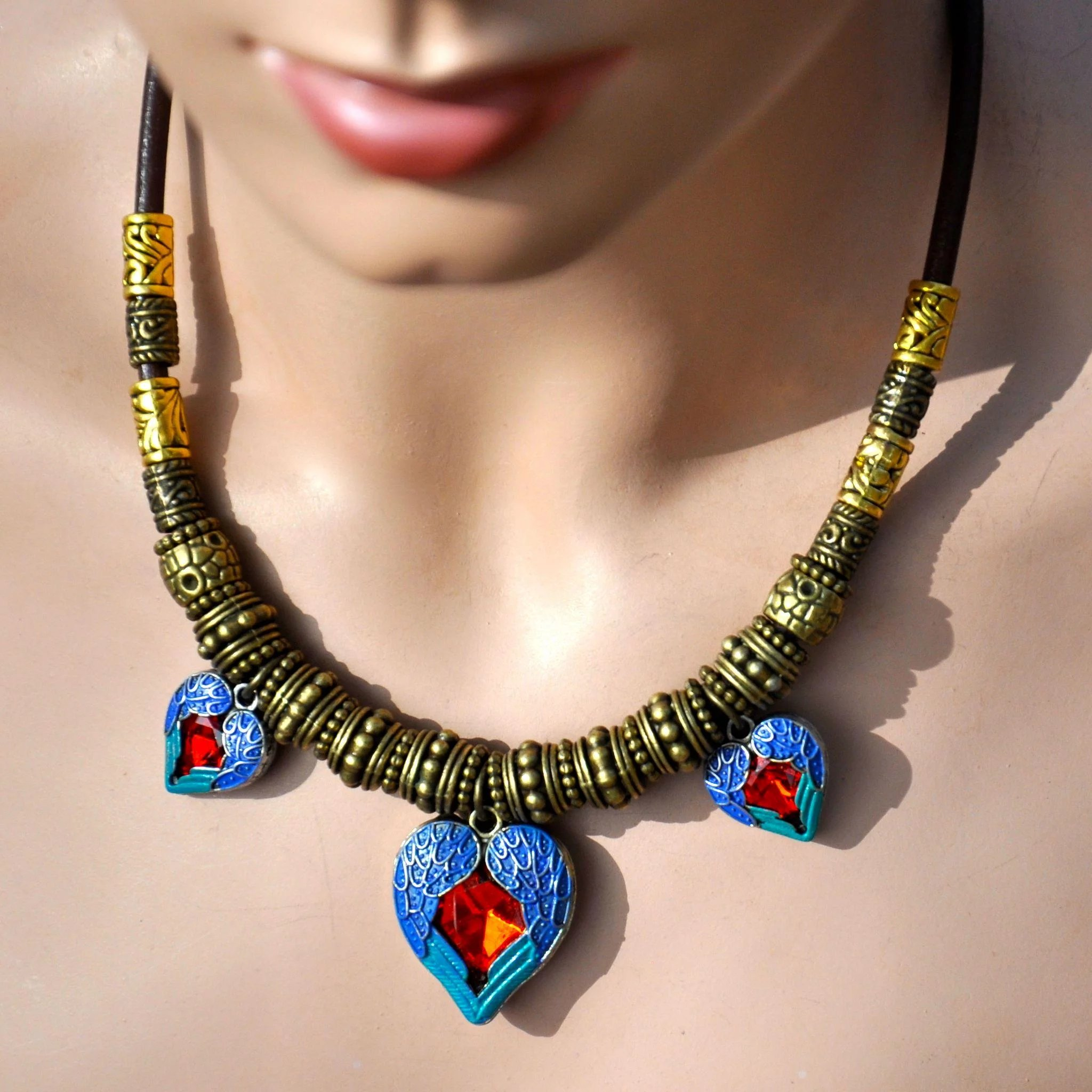 Three Hearts Necklace on Greek Leather : B.BOLD Jewelry for Boomer Girls | Ruby Lane