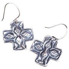 Rustic Style Silver Square Cross Earrings