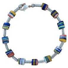 African Glass Bead of Many Colors Choker Style Necklace