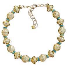 Bali Style Shimmer Gold Plate Choker Style Necklace