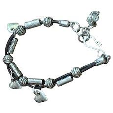 A little bit Cowgirl Style Heart Charmed Bracelet