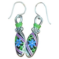 Chimayo Forget-Me-Not Hand Painted Earrings
