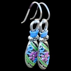 Hand-Painted Chimayo Style Forget-Me-Not Earrings